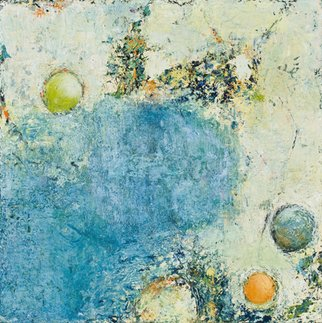 Louise Weinberg; Spheres Emerging 6, 2009, Original Painting Oil, 18 x 18 inches. Artwork description: 241    spheres, abstract, contemporary , square, blue small   ...