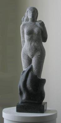 Lou Lalli; Birth Of Venus, 2004, Original Sculpture Stone, 5 x 21 inches. Artwork description: 241 This piece is executed in Champlaign Black Marble. The black stone contains small White fossils the are evident in the polished lower portion....