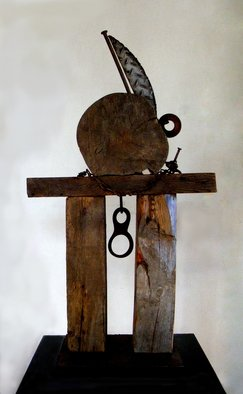 Louise Parenteau; ALANIS, 2010, Original Sculpture Mixed, 48 x 87 cm. Artwork description: 241        Scrap material:wood, metal, found objects sculpture, art, ethnic, tribal, wood, metal, scrap, recycled, contemporary, actual, african                 ...