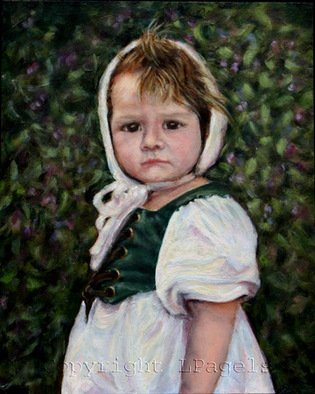 Laurie Pagels; Age Of Innocence, 2008, Original Painting Oil, 8 x 10 inches. Artwork description: 241 2008 National Small Oil Painting Competition. Little Girl, white dress, bonnet, renaissance, white, green, brown, blue, pink, child  ...
