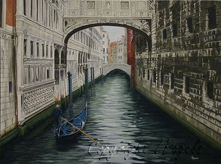 Laurie Pagels; Bridge Of Sigh, 2007, Original Painting Oil, 40 x 30 inches. Artwork description: 241 Dimensions given are for the canvas only and do not include the frame dimensions.  Please email for frame dimensions.   Bridge of Sigh, Venice, Italy, Gondola, Water, Buildings, Architecture, Sceanic, Canal, Man in Gondola, Person, Historic, Landmark, blue, brown, off white, old  ...