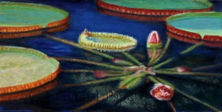 Laurie Pagels; Still Waters, 2010, Original Painting Oil, 24 x 12 inches. Artwork description: 241  Lily pads, red, orange, blue, vibrant, flowers,  ...