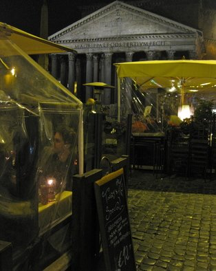 Laurie Delaney; Piazza Dinning, 2011, Original Photography Color, 8 x 10 inches. Artwork description: 241  Rome, Italy, Pantheon, Church ...