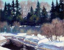 Artist: Larry Seiler's, title: Last Snows of Ginny Creek, 2005, Painting Oil