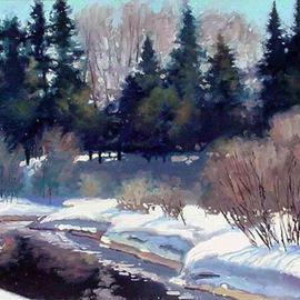 Artist: Larry Seiler, title: Last Snows of Ginny Creek, 2005, Original Painting Oil