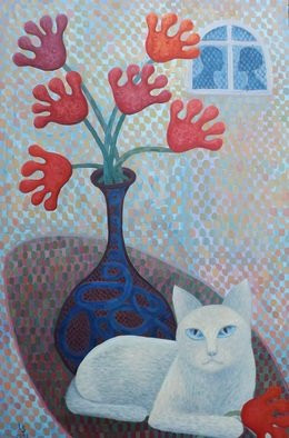 Luana Stebule; The World According To Shebe, 2018, Original Painting Oil, 61 x 92 cm. Artwork description: 241 about Sheba the cat...