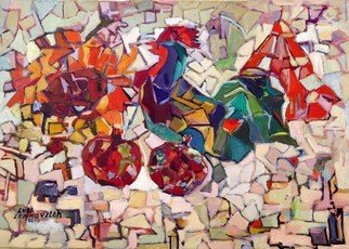 Lubov Meshulam Lemkovitch; Abstract With A Cock, 2001, Original Painting Oil, 70 x 50 cm.
