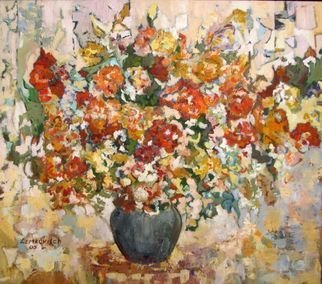 Lubov Meshulam Lemkovitch; Flower Abstract, 2005, Original Painting Oil, 80 x 70 cm.