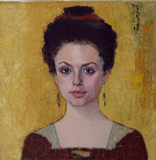Lubov Meshulam Lemkovitch; Rackel, 2007, Original Painting Oil, 50 x 50 cm. Artwork description: 241  Portrait of a young woman. ...