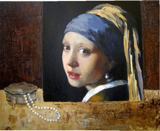 Lubov Meshulam Lemkovitch; Still Iife With Vermeer, 2009, Original Painting Oil, 50 x 40 cm.