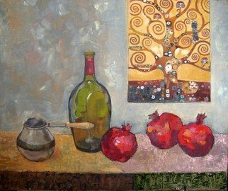 Lubov Meshulam Lemkovitch; Still Life With Klimt, 2009, Original Painting Oil, 60 x 50 cm.