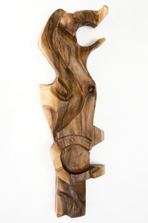 Blazej Siplak; Head N 10, 2017, Original Sculpture Wood, 37 x 110 cm. Artwork description: 241 wood, sculpture, walnut, abstract, head, art, brown, woodcut...