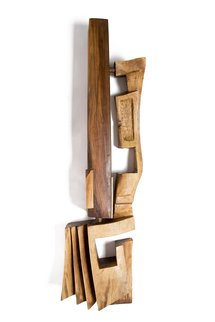 Blazej Siplak; Head N 11, 2017, Original Woodworking, 33 x 130 cm. Artwork description: 241 wood, head, walnut, sculpture, abstract, woodcut, art, brown...