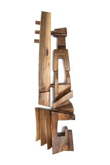 Blazej Siplak; Head N 14, 2017, Original Sculpture Wood, 29 x 128 cm. Artwork description: 241 wood, head, walnut, abstract...