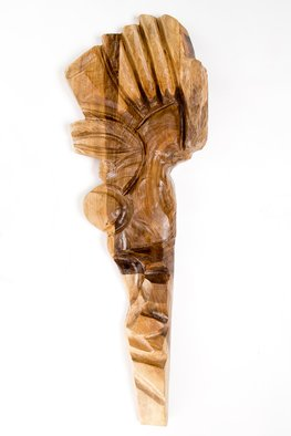 Blazej Siplak; Head N 3, 2017, Original Sculpture Wood, 33 x 100 cm. Artwork description: 241 wood, abstract, walnut, sculpture, head...