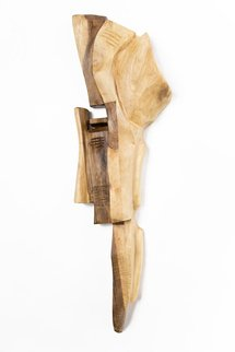 Blazej Siplak; Head N 7, 2017, Original Sculpture Wood, 32 x 130 cm. Artwork description: 241 wood, head, abstract, sculpture, walnut, original, woodcut...