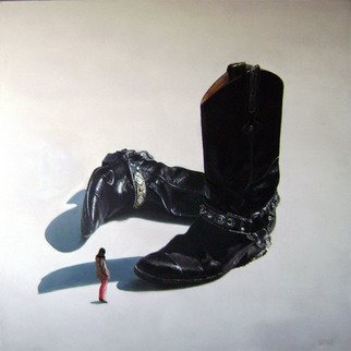 Camilo Lucarini; Boots With Woman, 2008, Original Painting Oil, 120 x 120 cm. Artwork description: 241   A pair of oversized used black boots with silver chains and a woman looking at them. ...