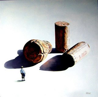 Camilo Lucarini; Corks With Woman, 2008, Original Painting Oil, 120 x 120 cm. Artwork description: 241   Group of wine and champagne oversized corks with a woman looking them ...