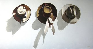 Camilo Lucarini; Hats, 2007, Original Painting Oil, 150 x 90 inches. Artwork description: 241  Group of hats hunging on a wall ...
