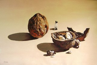 Camilo Lucarini; Nuts With Puppy, 2009, Original Painting Oil, 120 x 80 cm. Artwork description: 241  Oversized nuts with my pet ...
