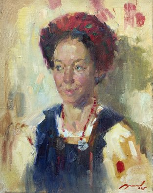 Olexiy Luchnikov; Smile, 2015, Original Painting Oil, 40 x 50 cm. Artwork description: 241  Woman dressed in national ukrainian costume. A fast emotional work. ...