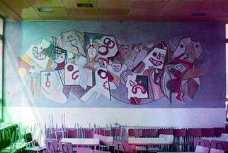 Lucia Timis; Composition 03, 1990, Original Painting Other, 20 x 10 feet. Artwork description: 241 Mural Painting- Al secco,Egg Tempera,High School Cafeteria,Cluj, Romania...