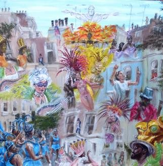 Nick Pike; Notting Hill Carnival, 2013, Original Painting Acrylic, 40 x 40 inches.