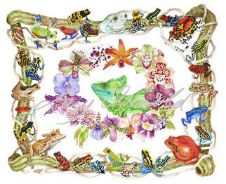 Lucy Arnold; Basilisk, Orchids, Frogs, 2010, Original Watercolor, 40 x 32 inches. Artwork description: 241  Basilisk lizard, orchids, frogs, poison dart frogs, poison arrow frogs, jungle, tropical, animals, nature ...
