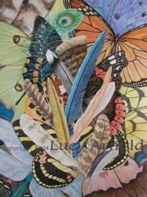 Lucy Arnold; Bits Of Flight, 2004, Original Giclee Reproduction, 18 x 24 inches. Artwork description: 241 The original watercolor painting, depicting feathers and wings of various forms, has sold.  Signed, limited edition giclee prints are available.  They are 24x18, unframed, 200 each....
