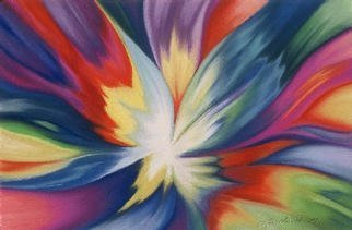 Lucy Arnold; Burst Of Joy, 1997, Original Giclee Reproduction, 24 x 18 inches. Artwork description: 241 Signed, limited edition giclee print of original pastel.  The idea of this vibrantly colorful abstract image is to convey the explosive joy of spirit becoming flesh....