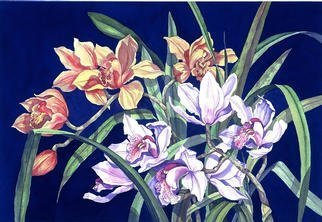 Lucy Arnold; Orchids In Blue, 1996, Original Giclee Reproduction, 24 x 18 inches. Artwork description: 241 Signed, limited edition of original watercolor.  This realistic painting is of cymbidium orchids from my garden. ...