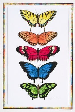 Lucy Arnold; Rainbow Butterflies, 2002, Original Giclee Reproduction, 18 x 24 inches. Artwork description: 241 Original watercolor sold.  Signed, limited edition giclee prints are available.  Real butterfly species are depicted in this rainbow....