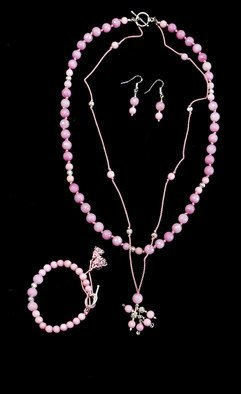 Ludmilla Churchill; Parure Inspiration, 2017, Original Jewelry, 17 x 17 inches. Artwork description: 241 Pink sapphires low grade strung on silk, sterling silver gindings.  Parure jewellery set...