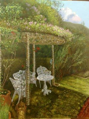 Luiz Henrique Azevedo; A nook with an arbor in I..., 2013, Original Painting Oil, 40 x 50 cm. Artwork description: 241 A lyrical way to see the arbor and their flowers arising in the spring....