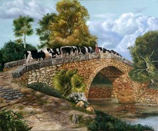 Luiz Henrique Azevedo; All pass, 2007, Original Painting Oil, 65 x 54 cm. Artwork description: 241  . . . Yes, all pass like the clouds in the sky and the cattle crossing the bridge. ...