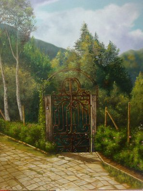 Luiz Henrique Azevedo; An Itaipava gate, 2013, Original Painting Oil, 40 x 50 cm. Artwork description: 241 Former the first gate to surpass when we arrive in a lovely Itaipava house. ...