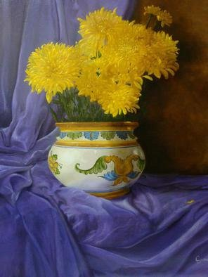 Luiz Henrique Azevedo; Chrysanthemums, 2015, Original Painting Oil, 40 x 50 cm. Artwork description: 241  Chrysanthemums. ...