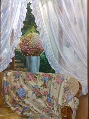 Luiz Henrique Azevedo; Itaipava, 2006, Original Painting Oil, 40 x 60 cm. Artwork description: 241 The pleasure of life in a special season of a special year. A visit to Itaipava house and the beauty of the flowers in the window and in the quilt while the afternoon pass....