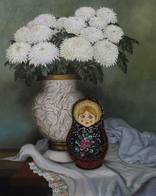 Luiz Henrique Azevedo; Matrioska, 2015, Original Painting Oil, 33 x 41 cm. Artwork description: 241  A Russian doll and chrysanthemums ...