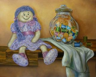 Luiz Henrique Azevedo; Rag doll, 2014, Original Painting Oil, 41 x 33 cm. Artwork description: 241 From the poem Boneca de pano by Jorge de Lima 1895- 1953a small rag doll waiting for a child to play, to live. ...