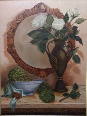 Luiz Henrique Azevedo; The three roses, 2002, Original Painting Oil, 40 x 50 cm. Artwork description: 241  Roses and the mirror where we can see there.  ...