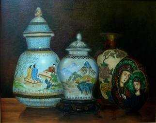 Luiz Henrique Azevedo; Vases, 2010, Original Painting Oil, 41 x 33 cm. Artwork description: 241 The chinese jars from my parents and my home jars....