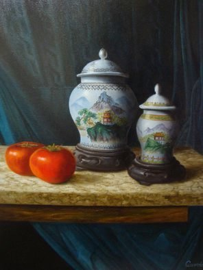 Luiz Henrique Azevedo; Vases and khakis, 2013, Original Painting Oil, 40 x 50 cm. Artwork description: 241 My chinese vases and khakis....