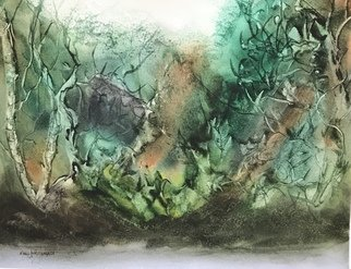 Maria Ines Lukacs; Forests Of Our Dreams, 2020, Original Watercolor, 42 x 31 cm. Artwork description: 241 Lights and shades that walk through the forests of our dreams...