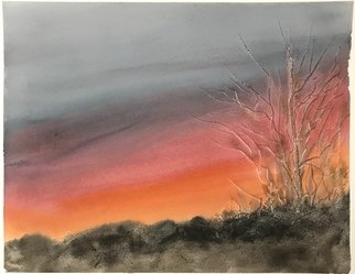 Maria Ines Lukacs; Sunsets Of Our Life, 2020, Original Watercolor, 42 x 31 cm. Artwork description: 241 Sunsets you see everyday from your backyard ...