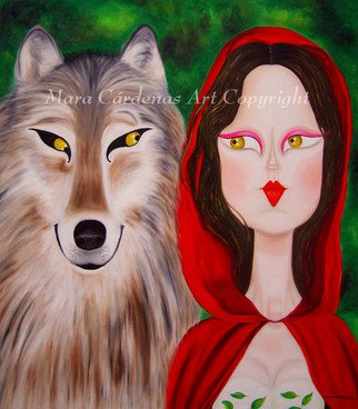 Mara Cardenas; Accomplices, 2007, Original Painting Oil, 28 x 32 inches. Artwork description: 241  Another version of Little Red Riding Hood and the Wolf. ...