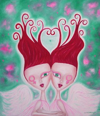 Mara Cardenas; Angels Of Love, 2007, Original Painting Oil, 60 x 70 cm. Artwork description: 241  Angels of love.oil painting ready to hang. ...