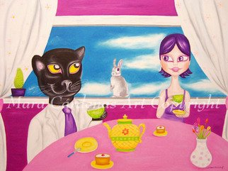 Mara Cardenas; Drinking Tea With Mr Panther, 2008, Original Painting Oil, 31 x 24 inches. Artwork description: 241  Drinking tea with a very good friend Mr. Panther ...