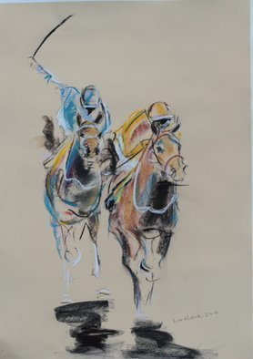 Tom Lund-Lack; Energy 12, 2016, Original Pastel, 50 x 70 cm. Artwork description: 241  A pastel sketch, these are harder to do than they look, no mistakes allowed The title reflects the energy of the sport of horse racing and the execution of the sketch - about 1 hour.The support is 300 GSM warm cream pastel paper. ...