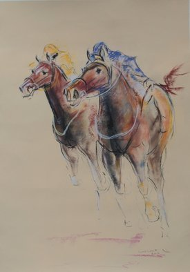 Tom Lund-Lack; Energy 13, 2016, Original Painting Oil, 50 x 70 cm. Artwork description: 241 A pastel sketch, these are harder to do than they look, no mistakes allowed The title reflects the energy of the sport of horse racing and the execution of the sketch - about 1 hour. The support is 300 GSM warm cream pastel paper. ...